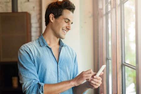 smart boy: Man Smile Using Smart Phone Call, Communication