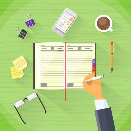 hand write: Businessman Hand Write Pen Notebook Desk Flat