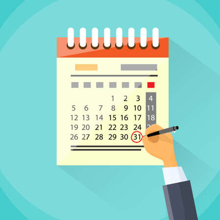 Draw Calendario Mano Pen Red Circle Fecha Último Día Mes Ilustración de vector