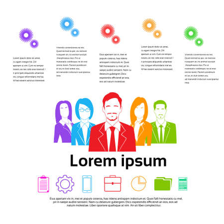human resource: Business People Group Colorful Silhouettes Infographics