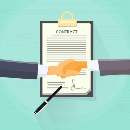 contrato de trabajo: Apretón de manos del hombre de negocios Contrato Regístrese documento Documento