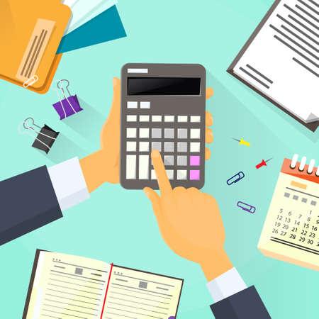impuestos: Oficina de la mano de la calculadora del hombre de negocios Escritorio Contador