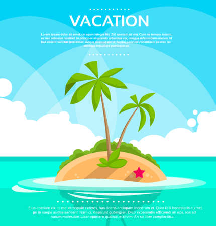 island: Summer Vacation Holiday Tropical Ocean Island With Palm Tree