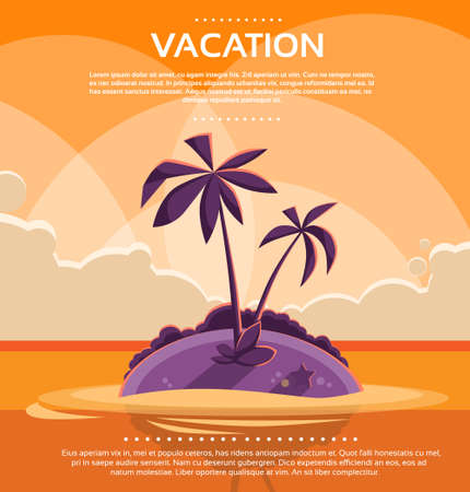 tropical sunset: Summer Vacation Holiday Tropical Sunset Ocean Island Illustration