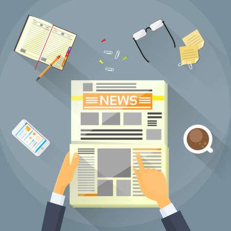 ビジネスマンは、新聞を読み、手のニュース ペーパーを保持  イラスト・ベクター素材