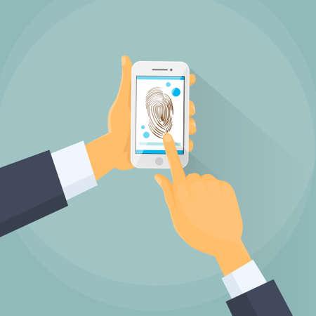 dedo: Finger Print M�vil Access Lock, hombre de negocios de la huella digital de la pantalla t�ctil