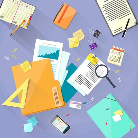 Workplace Bureau Documenten Papers Folder Office Stuff Stock Illustratie