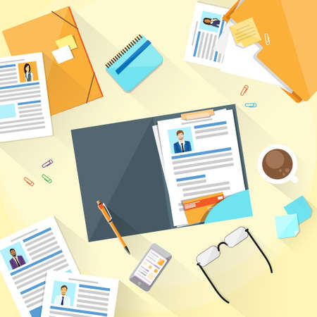 Human Resouce Working Place Desk Documents Curriculum Vitae Vector