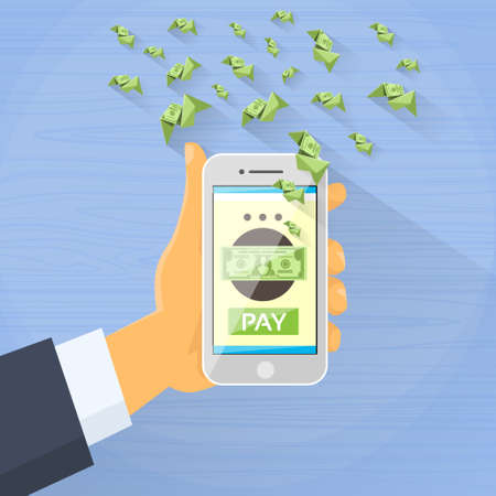 card payment: Smart Phone Mobile Payment Checkout Businessman Hand Pay Concept Illustration