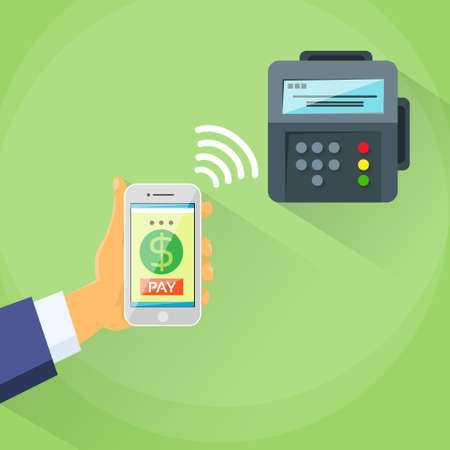Smart Phone Mobile Payment Device Nfc Terminal Checkout Vector