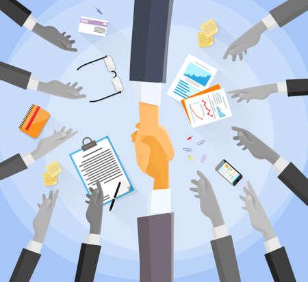 partners: Handshake Concept Choose Partners Business People Group Hands Illustration