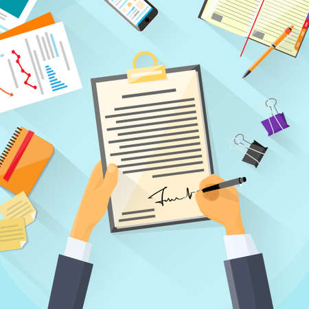 signing document: Business Man Signature Document Signing Up Contract, Businessman Sign Agreement Office Desk