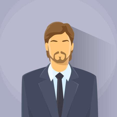 male portrait: Businessman Profile Icon Male Portrait Business Man Flat Design Illustration