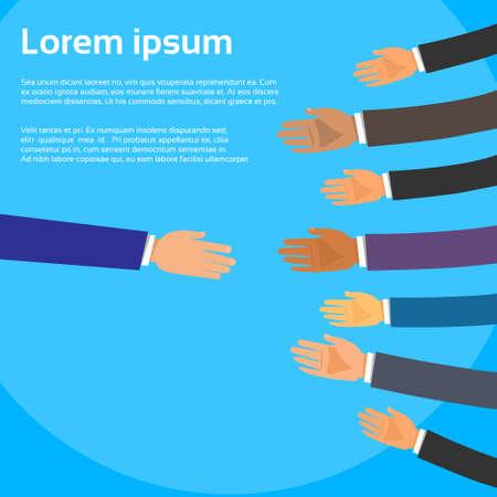 personne seule: Poign�e de main Une seule personne de choisir des partenaires d'affaires gens groupe mains Secouer Illustration