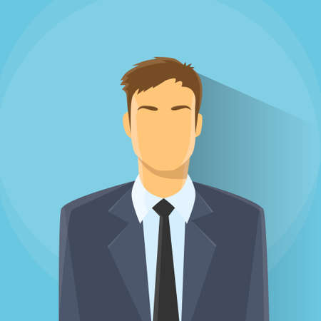 male face profile: Businessman Profile Icon Male Portrait Business Man Flat Design Illustration