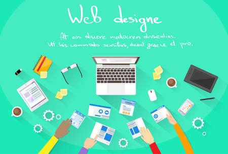 mobile website design: Web Development Create Design Site Building Team People Hands Illustration
