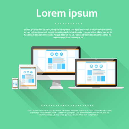 Responsive Design Laptop Phone Tablet Desktop Device Schermgrootte Stock Illustratie