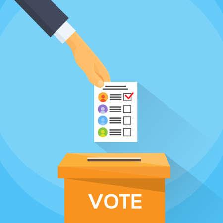 voting box: Mettendo mano Vota Lista scheda cartacea in Voting Box