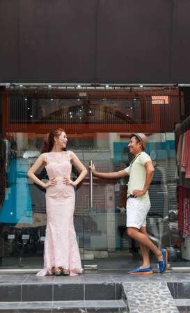 shop window: asian fashion dress clothes shop window man and woman