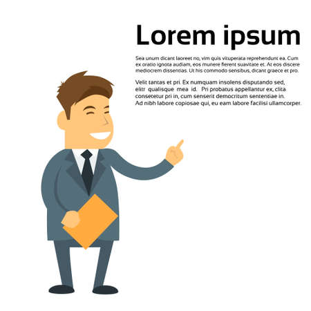 montrer du doigt: Business Man Sourire point Finger Empty Espace texte, Cartoon affaires