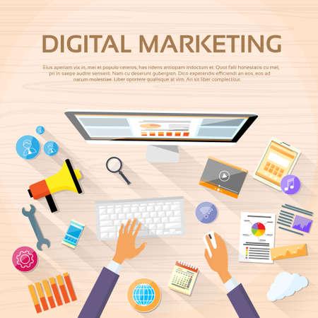 workstation: Digital Marketing Workspace Desktop Workstation Illustration
