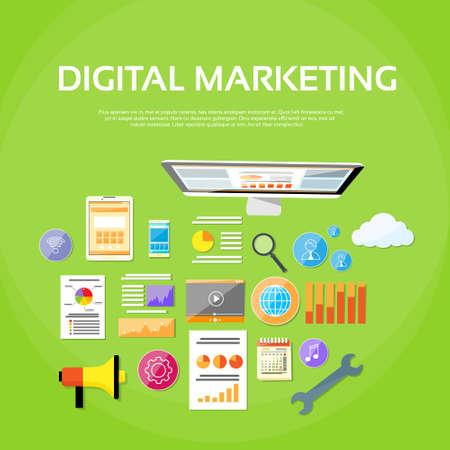 espacio de trabajo: Marketing Digital Workspace Escritorio Puesto de trabajo Escritorio Vectores