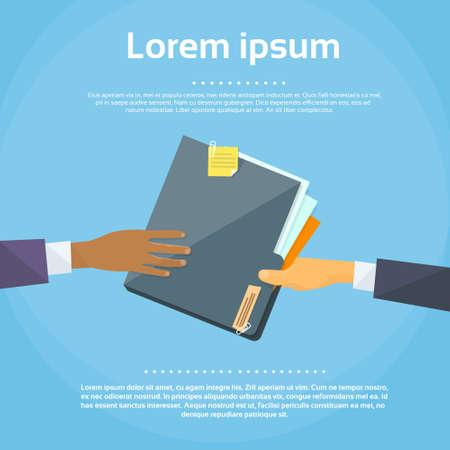 手を与える概念ビジネスマン共有フォルダー書類