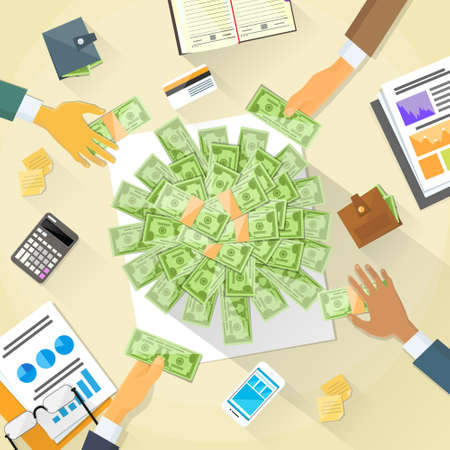 crowd: Money on Desk Hands Business People Group Crowd Funding Illustration