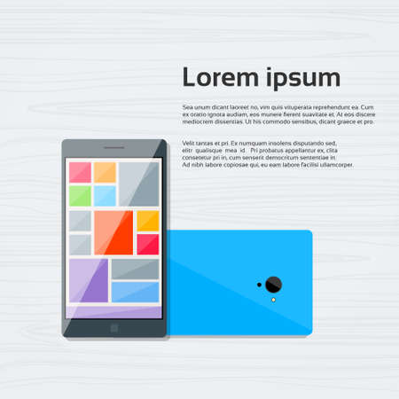 smart phone: Cell Smart Phone Colorful Icon Flat Vector Illustration