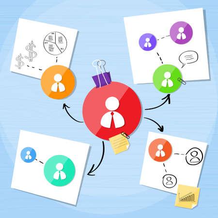 gestion empresarial: Conexi�n Negocios Proyecto Persona Icono Equipo Creativo Vectores