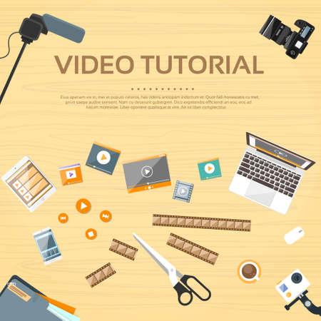 ビデオ チュートリアル編集デスクの作業場所のベクトル  イラスト・ベクター素材