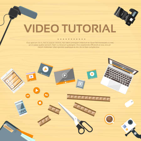 films: Video Tutorial Editor Desk Working Place Vector