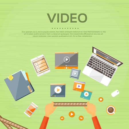films: Video Editor Workplace Hands Laptop Player Flat Illustration