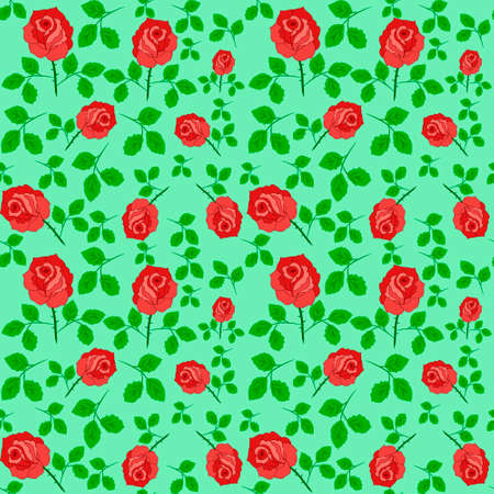 rose flowers: Red Rose Flowers Colorful Seamless Pattern Background Vector Illustration