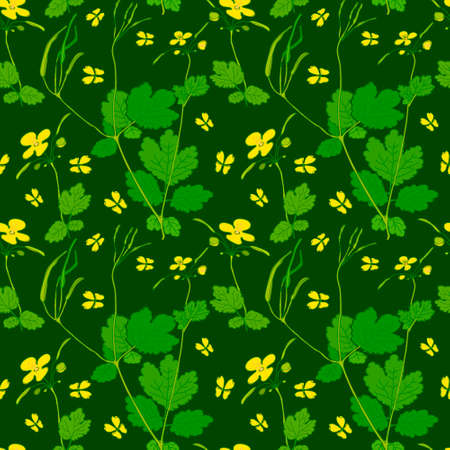 groene bloemen: Yellow Green Flowers Colorful Seamless Pattern Background Vector Illustration