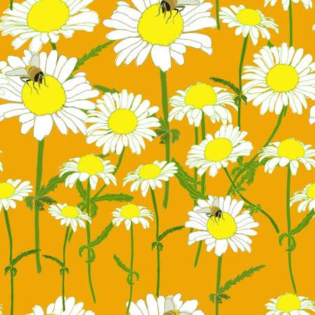 chamomile: Chamomile Bee Orange Flowers Colorful Seamless Pattern Vector Illustration Illustration