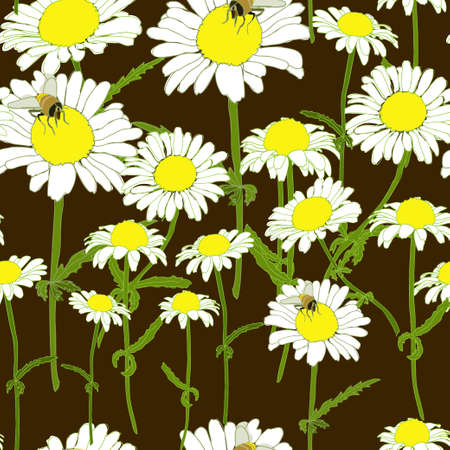 chamomile: Chamomile Bee Flowers Colorful Seamless Pattern Black Background Vector Illustration