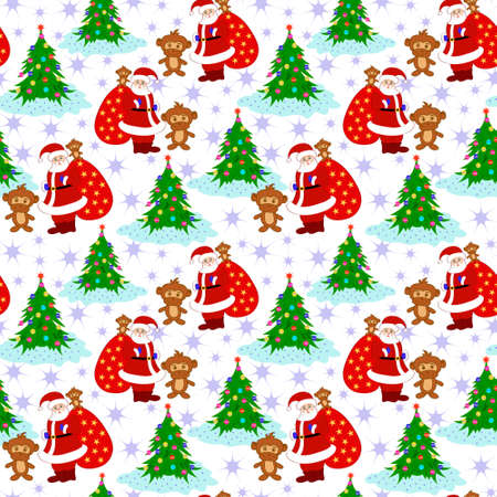 clause: Santa Clause Christmas Tree New Year Monkey Seamless Pattern Vector Illustration
