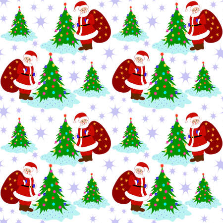 clause: Santa Clause Christmas Tree Seamless Pattern Vector Illustration