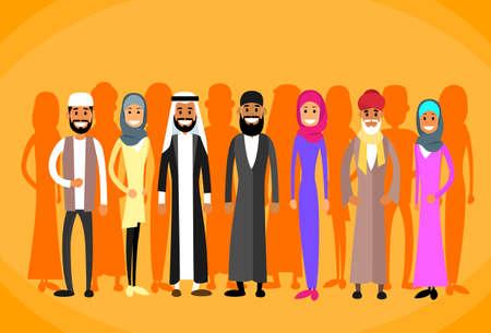 fille arabe: Musulmane gens Couronne homme et femme Vêtements traditionnels Illustration