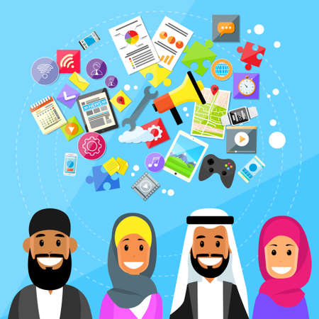 digital device: Arabic Man and Woman with Digital Device Entertainment icons
