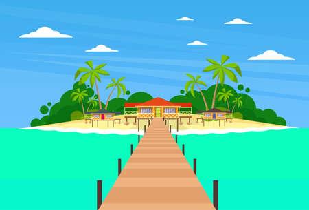 maldives island: Tropical Island Long Pier Summer Vacation Paradise