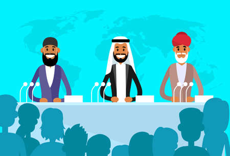 arabic: Conference between International Leaders Illustration