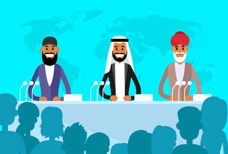 hombre arabe: Conferencia entre L�deres Internacionales Vectores