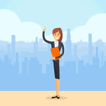 lenght: Business Woman Smile while Pointing Finger Upward Illustration