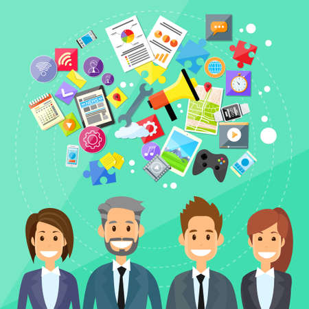 device: Businesspeople with Digital Device above Illustration