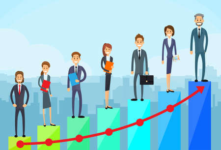 cartoon money: Business People Standing on Financial Bar Graph