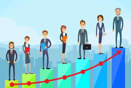 incremento: La gente de negocios de pie en Financiera Gráfico de barras Vectores