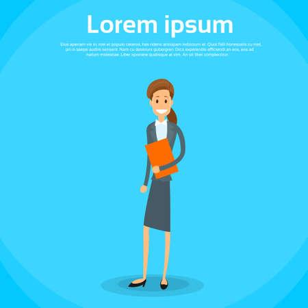 full length: Businesswoman holding Document in Full Length