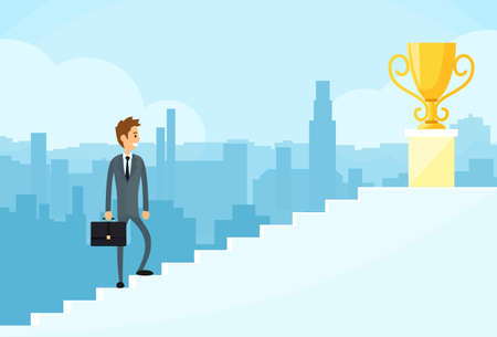 successful businessman: Businessman Walking Up Stairs
